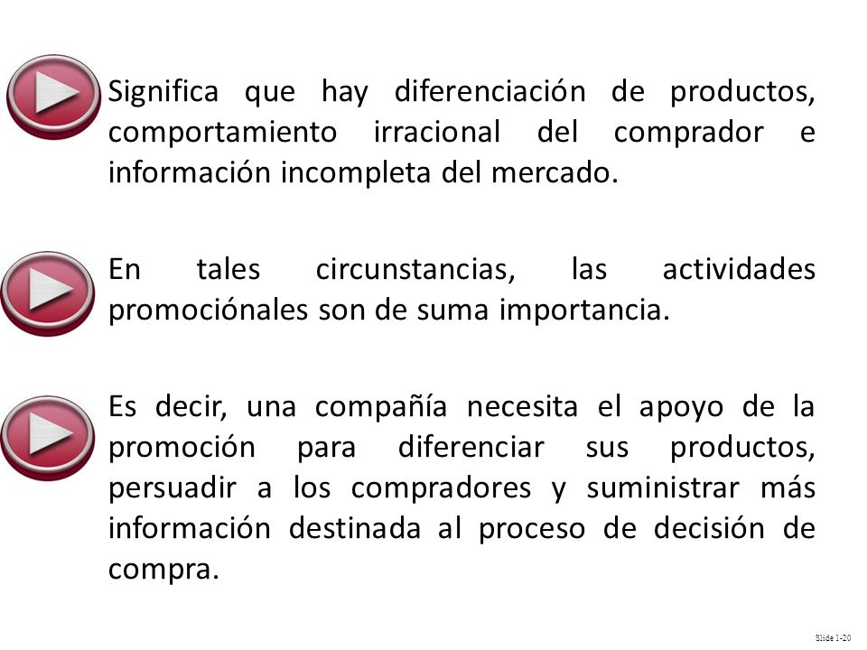 Significa que hay diferenciación de productos, comportamiento irracional del comprador e información incompleta del mercado.