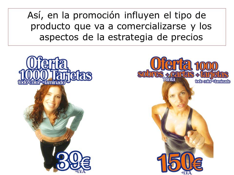 Así, en la promoción influyen el tipo de producto que va a comercializarse y los aspectos de la estrategia de precios