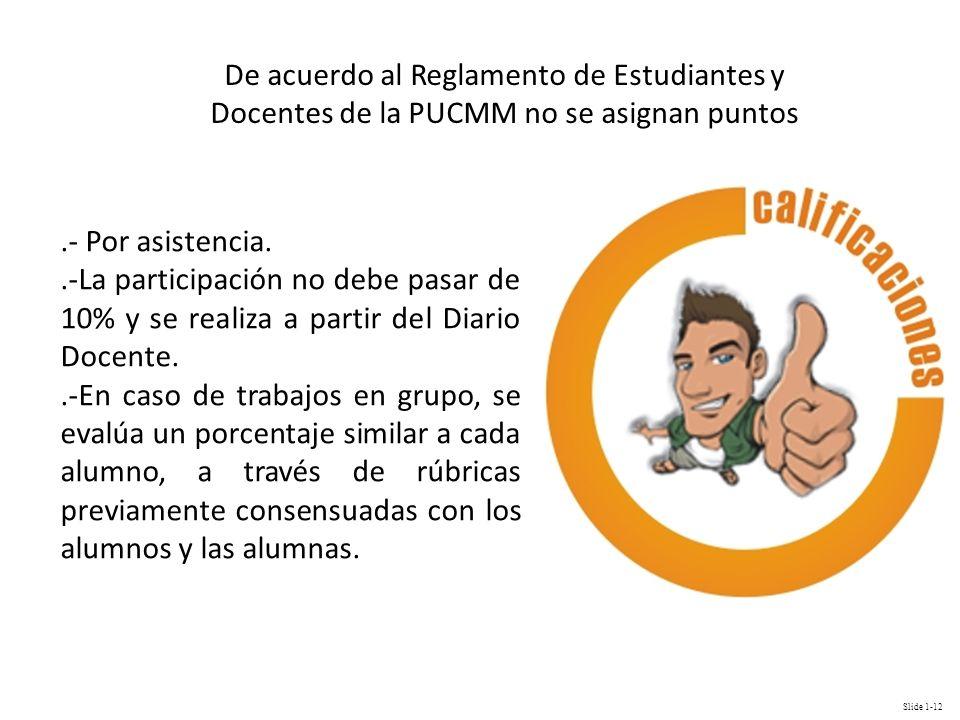 De acuerdo al Reglamento de Estudiantes y Docentes de la PUCMM no se asignan puntos