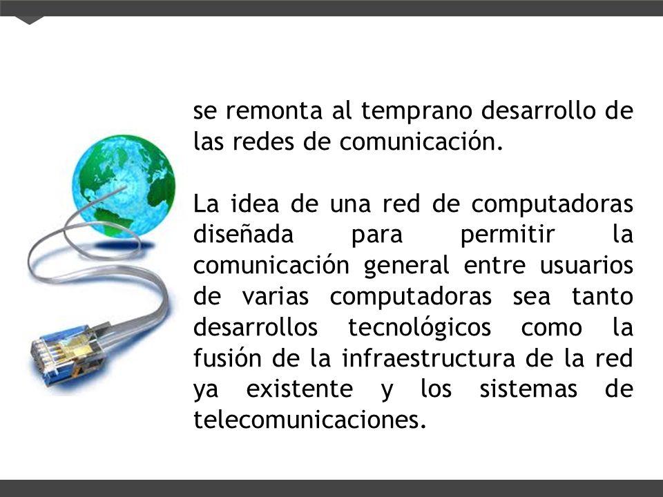 se remonta al temprano desarrollo de las redes de comunicación.