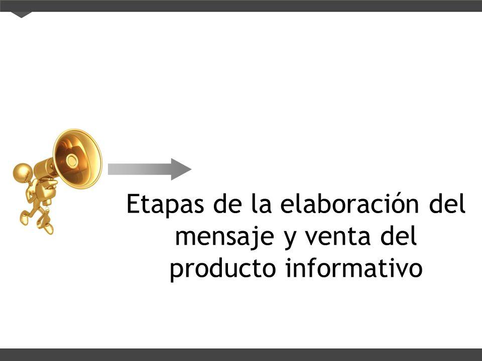 Etapas de la elaboración del mensaje y venta del producto informativo