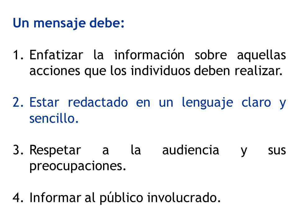 Un mensaje debe:Enfatizar la información sobre aquellas acciones que los individuos deben realizar.