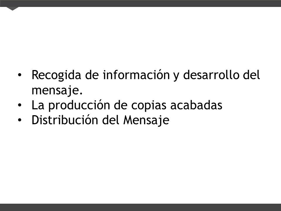 Recogida de información y desarrollo del mensaje.
