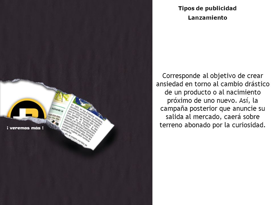 Tipos de publicidad Lanzamiento.