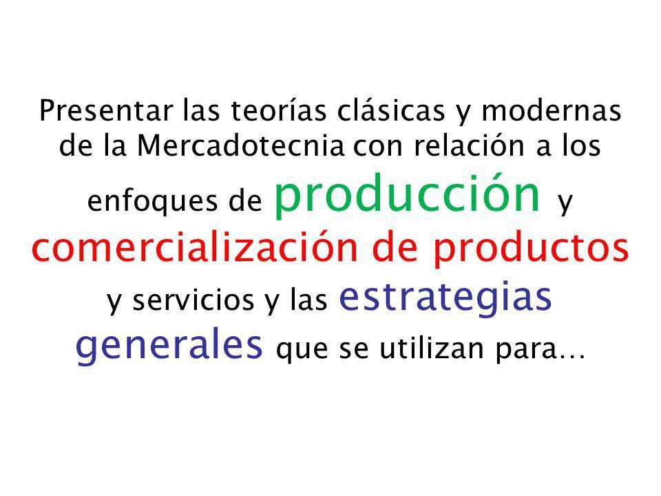 Presentar las teorías clásicas y modernas de la Mercadotecnia con relación a los enfoques de producción y comercialización de productos y servicios y las estrategias generales que se utilizan para…