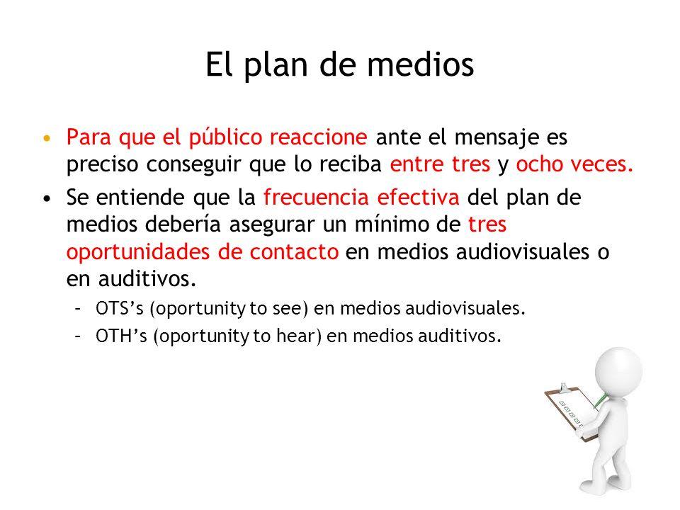 El plan de medios Para que el público reaccione ante el mensaje es preciso conseguir que lo reciba entre tres y ocho veces.