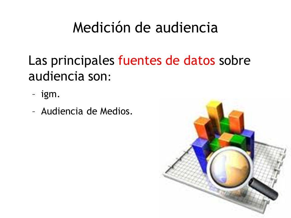 Medición de audiencia Las principales fuentes de datos sobre audiencia son: igm.