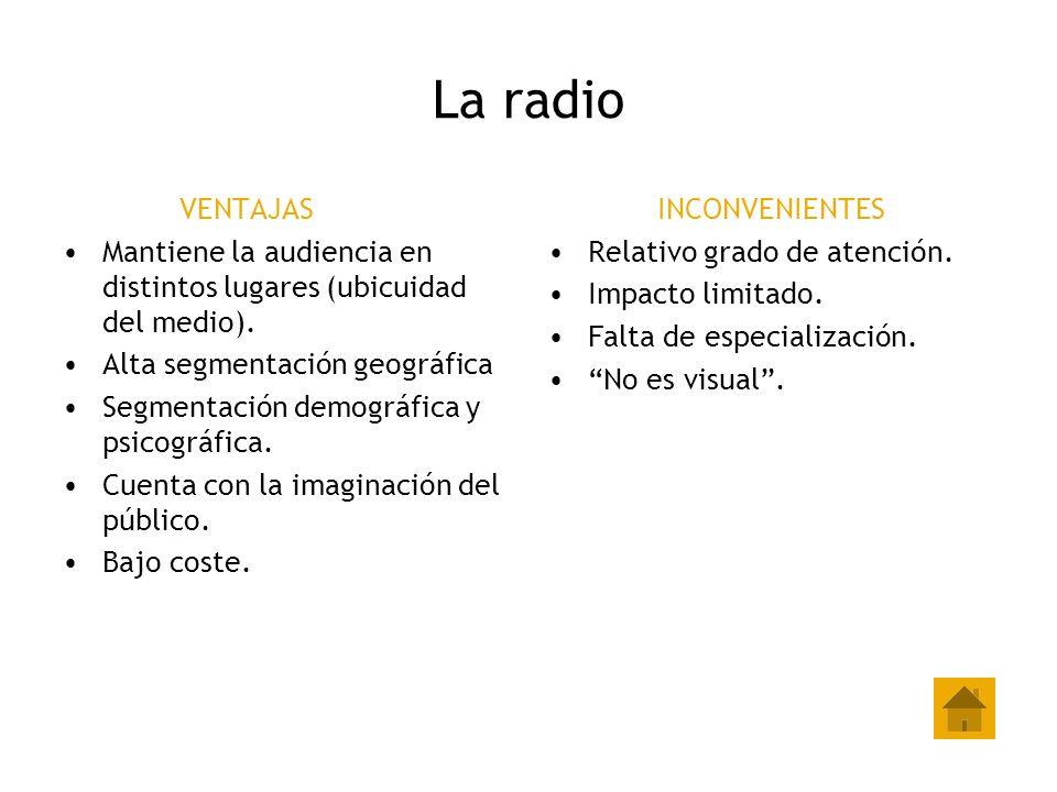 La radio VENTAJAS. Mantiene la audiencia en distintos lugares (ubicuidad del medio). Alta segmentación geográfica.