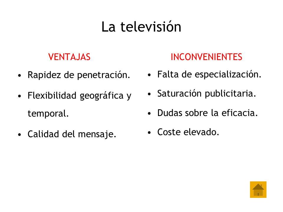 La televisión VENTAJAS Rapidez de penetración.