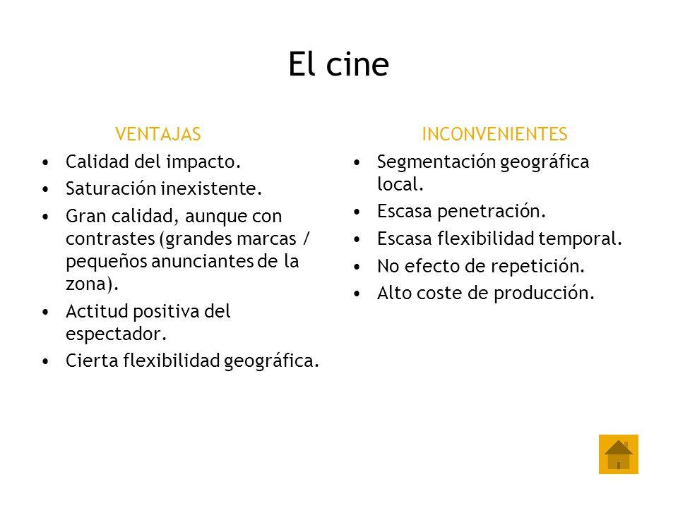 El cine VENTAJAS Calidad del impacto. Saturación inexistente.