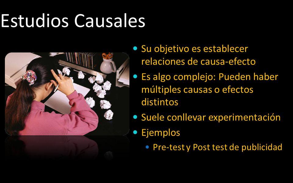 Estudios Causales Su objetivo es establecer relaciones de causa-efecto