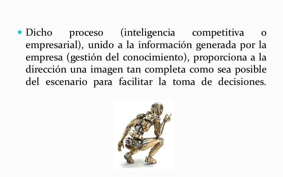 Dicho proceso (inteligencia competitiva o empresarial), unido a la información generada por la empresa (gestión del conocimiento), proporciona a la dirección una imagen tan completa como sea posible del escenario para facilitar la toma de decisiones.
