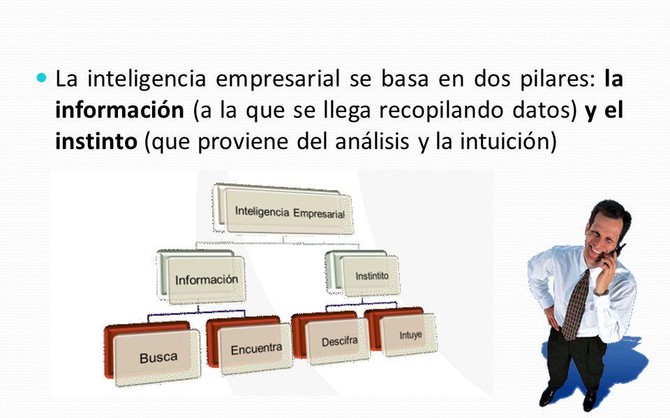 La inteligencia empresarial se basa en dos pilares: la información (a la que se llega recopilando datos) y el instinto (que proviene del análisis y la intuición)