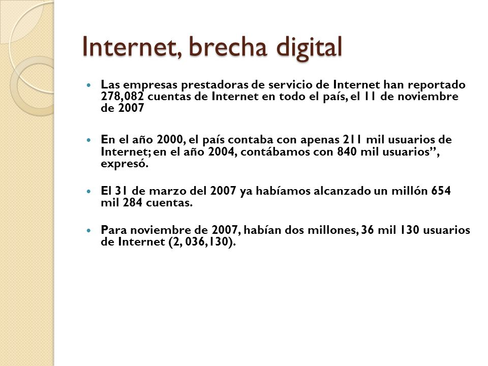 Internet, brecha digital