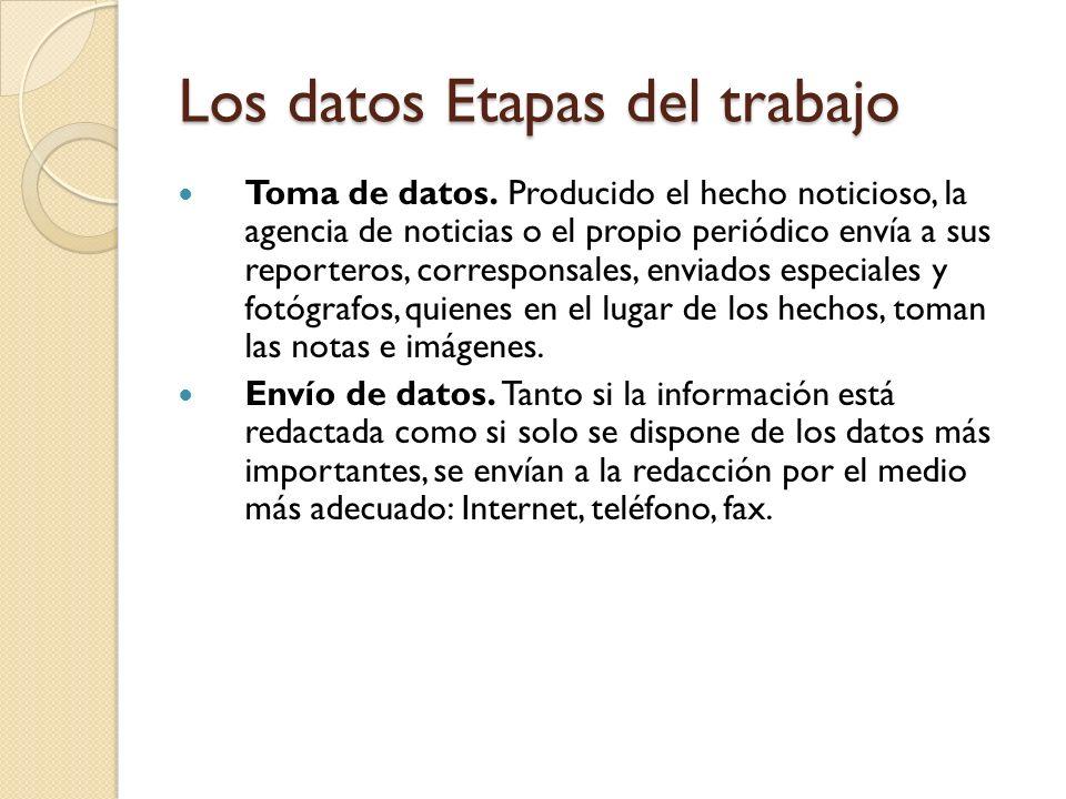 Los datos Etapas del trabajo