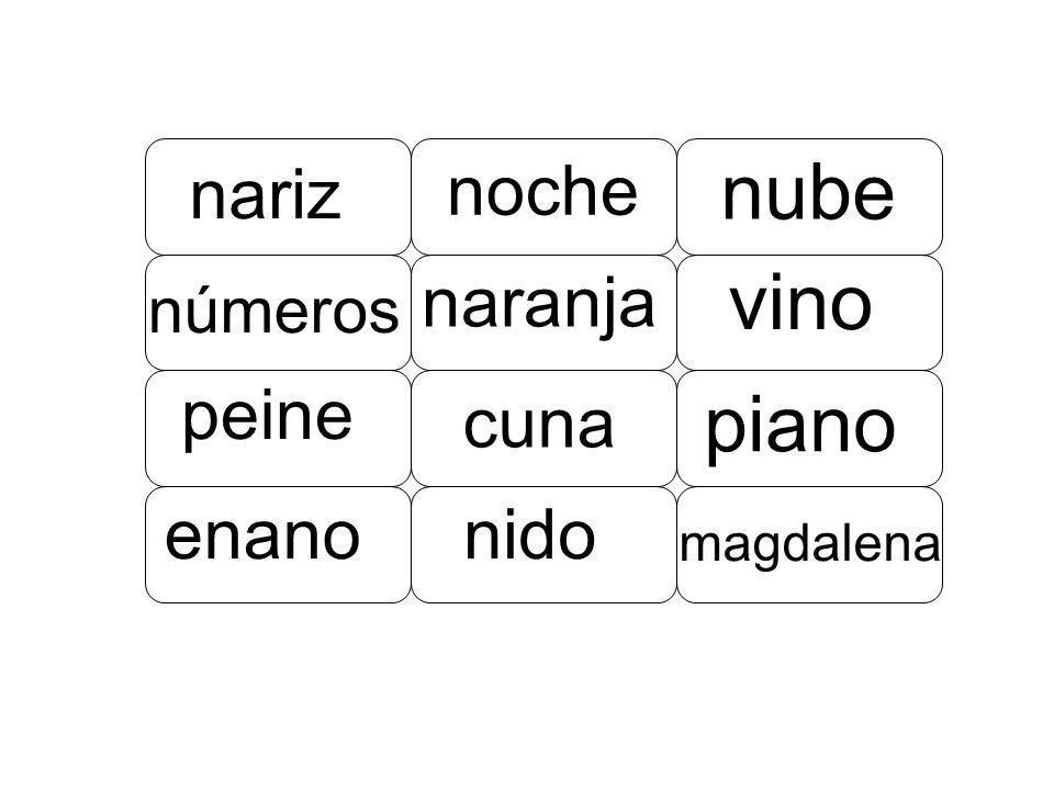 nube vino piano nariz noche naranja peine cuna enano nido números