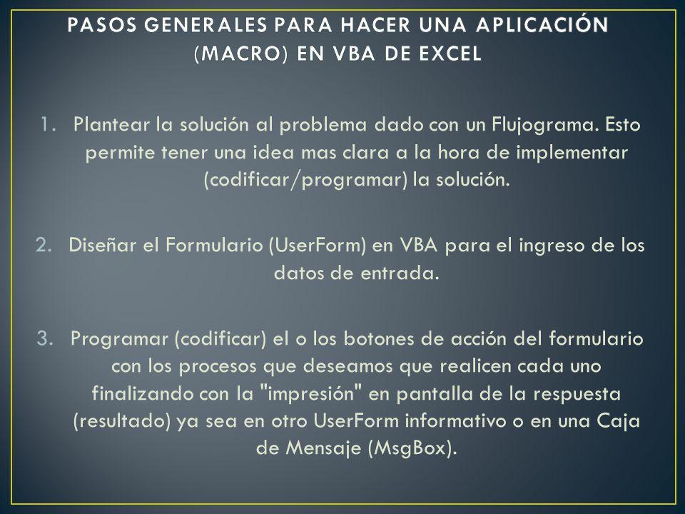 PASOS GENERALES PARA HACER UNA APLICACIÓN (MACRO) EN VBA DE EXCEL