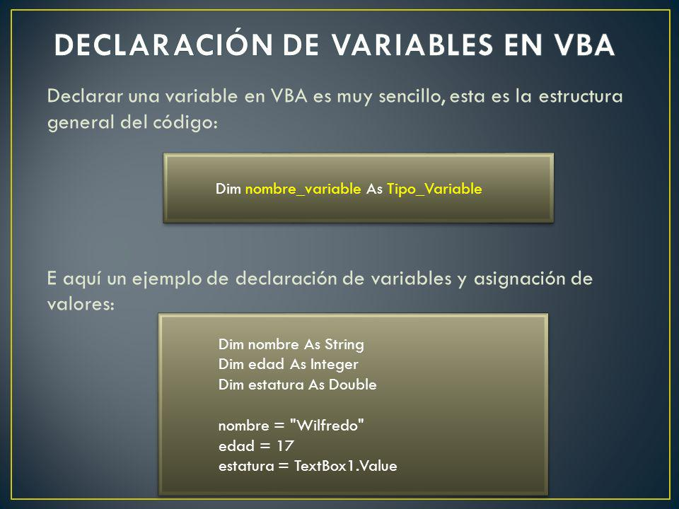 DECLARACIÓN DE VARIABLES EN VBA