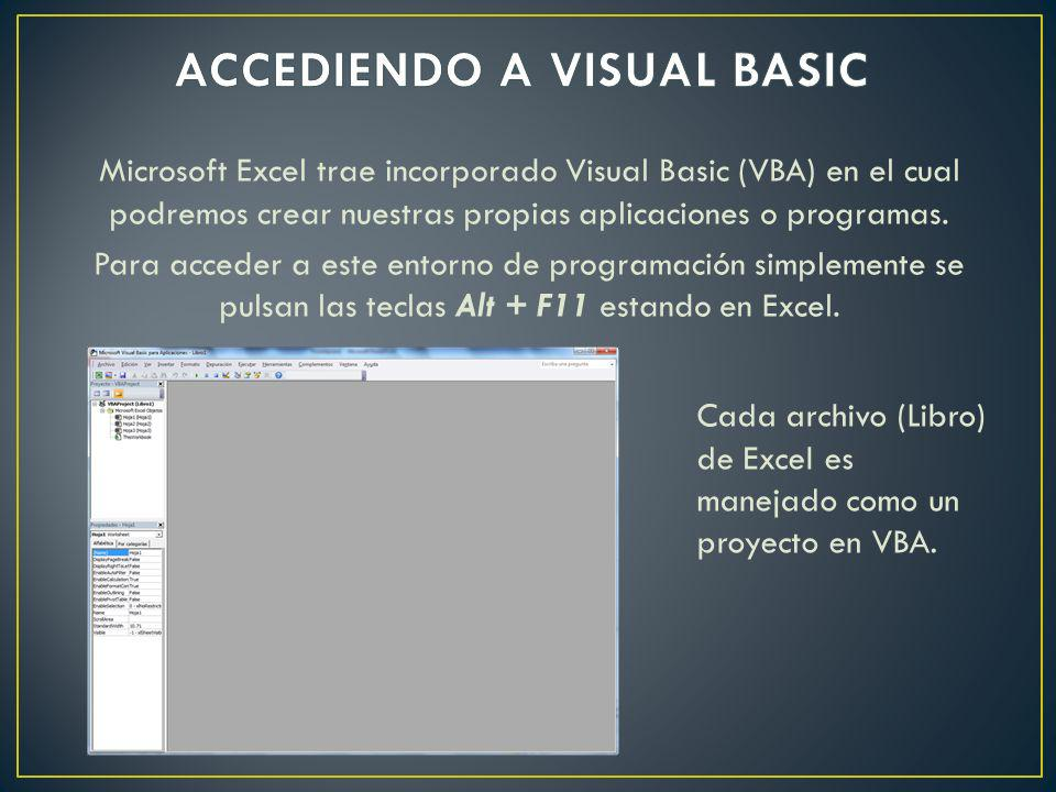 ACCEDIENDO A VISUAL BASIC