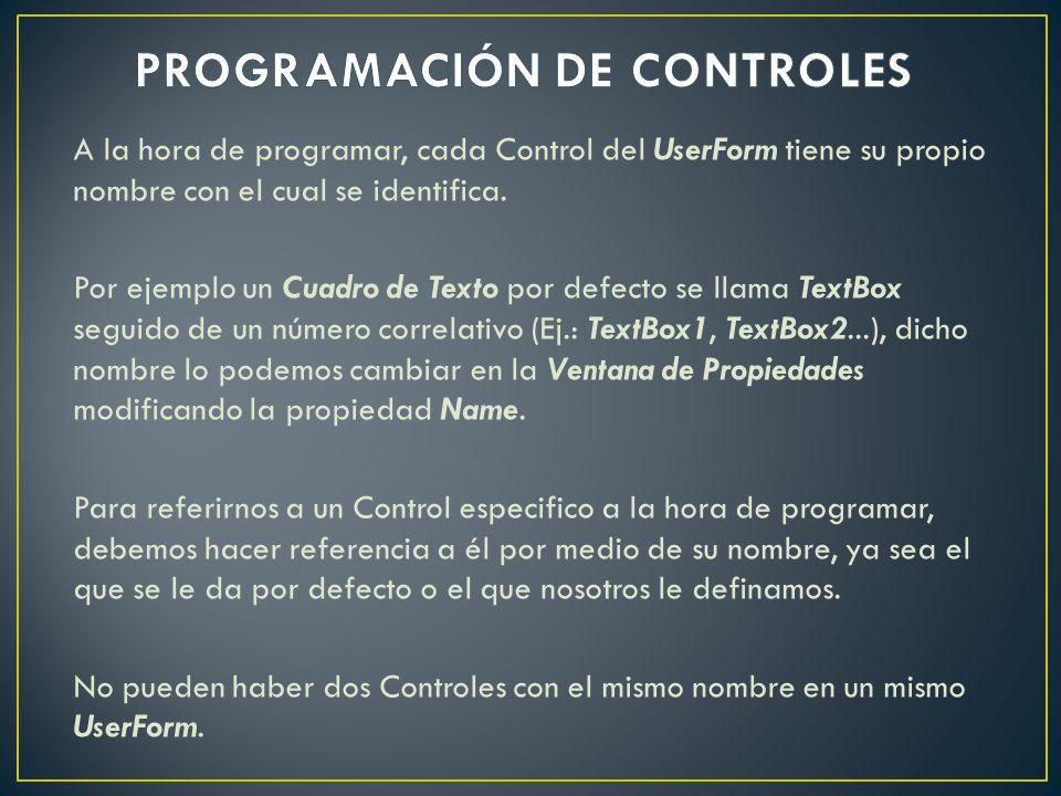 PROGRAMACIÓN DE CONTROLES