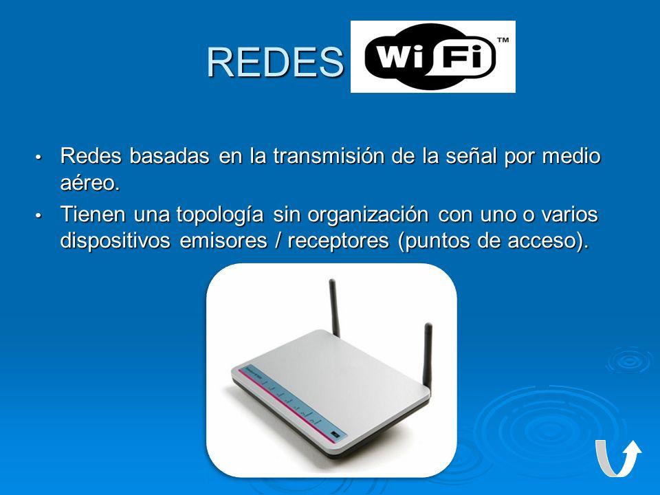REDES WI-FI Redes basadas en la transmisión de la señal por medio aéreo.