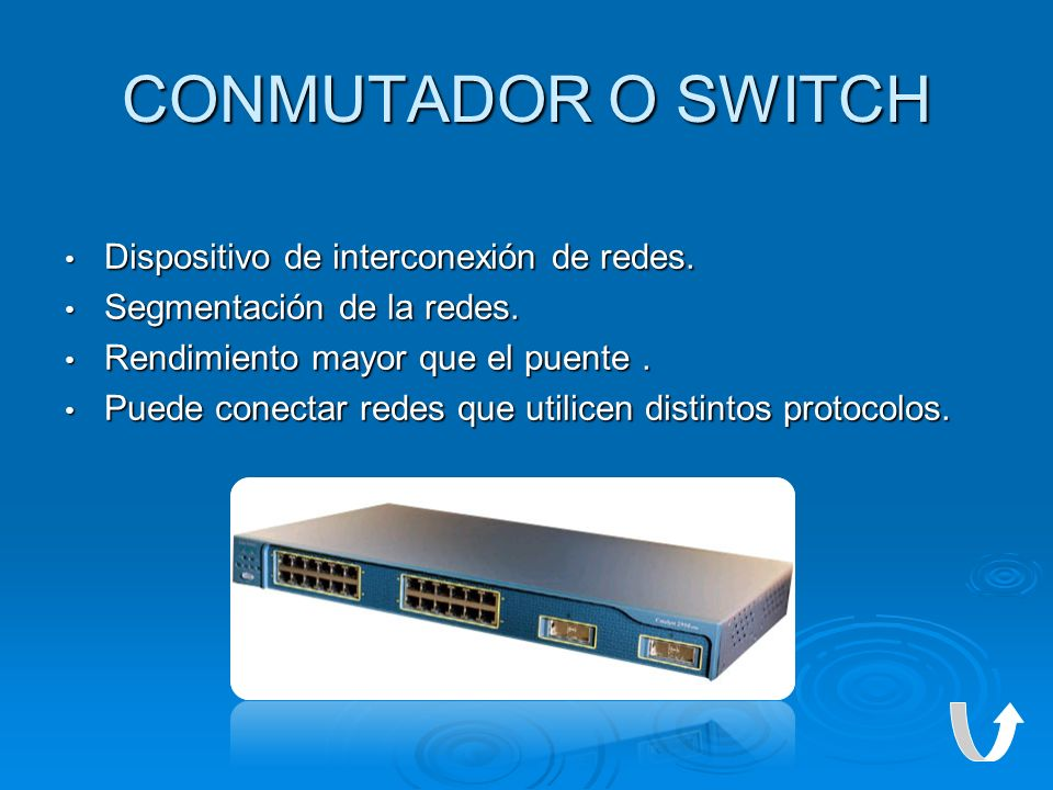 CONMUTADOR O SWITCH Dispositivo de interconexión de redes.