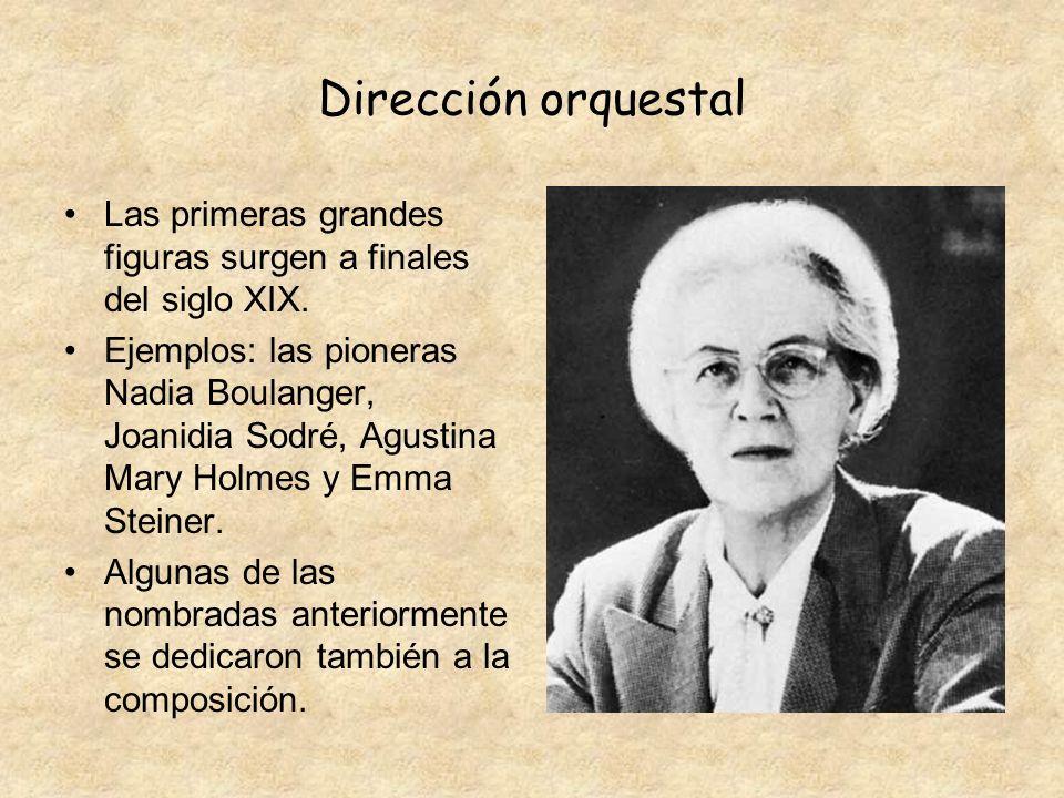 Dirección orquestal Las primeras grandes figuras surgen a finales del siglo XIX.