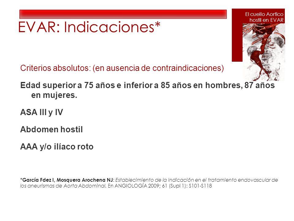 EVAR: Indicaciones* El cuello Aortico. hostil en EVAR.