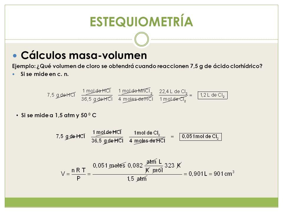 ESTEQUIOMETRÍA Cálculos masa-volumen