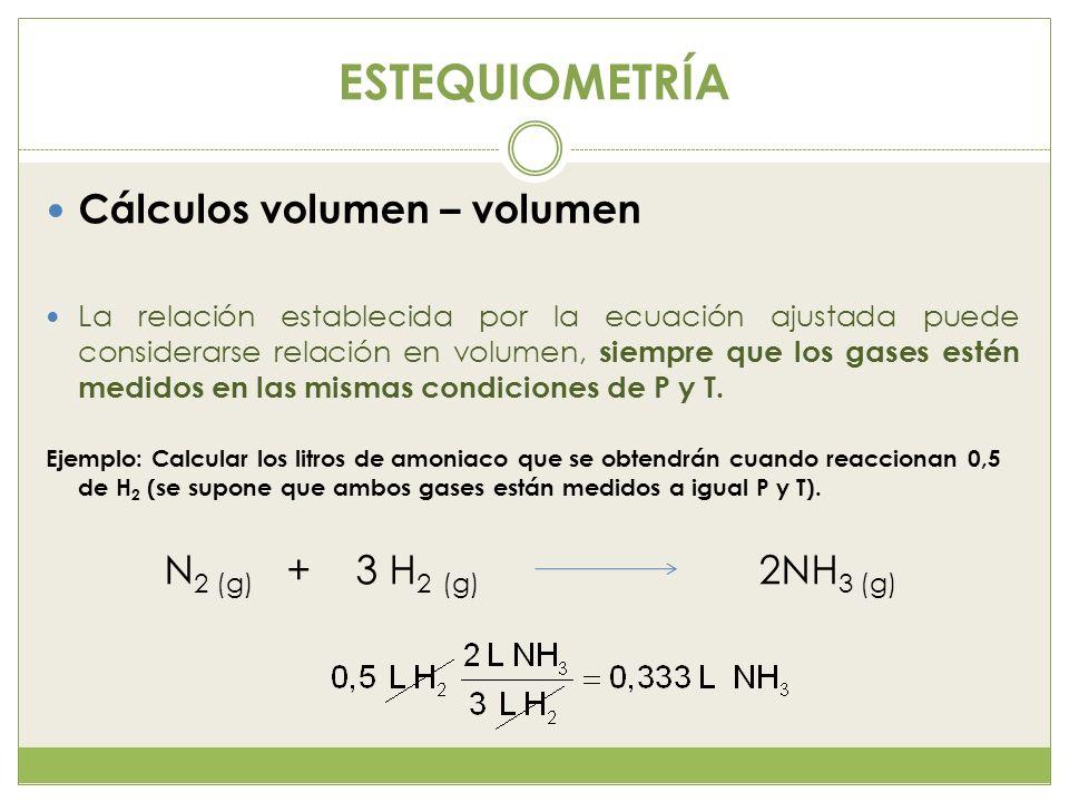 ESTEQUIOMETRÍA Cálculos volumen – volumen N2 (g) + 3 H2 (g) 2NH3 (g)