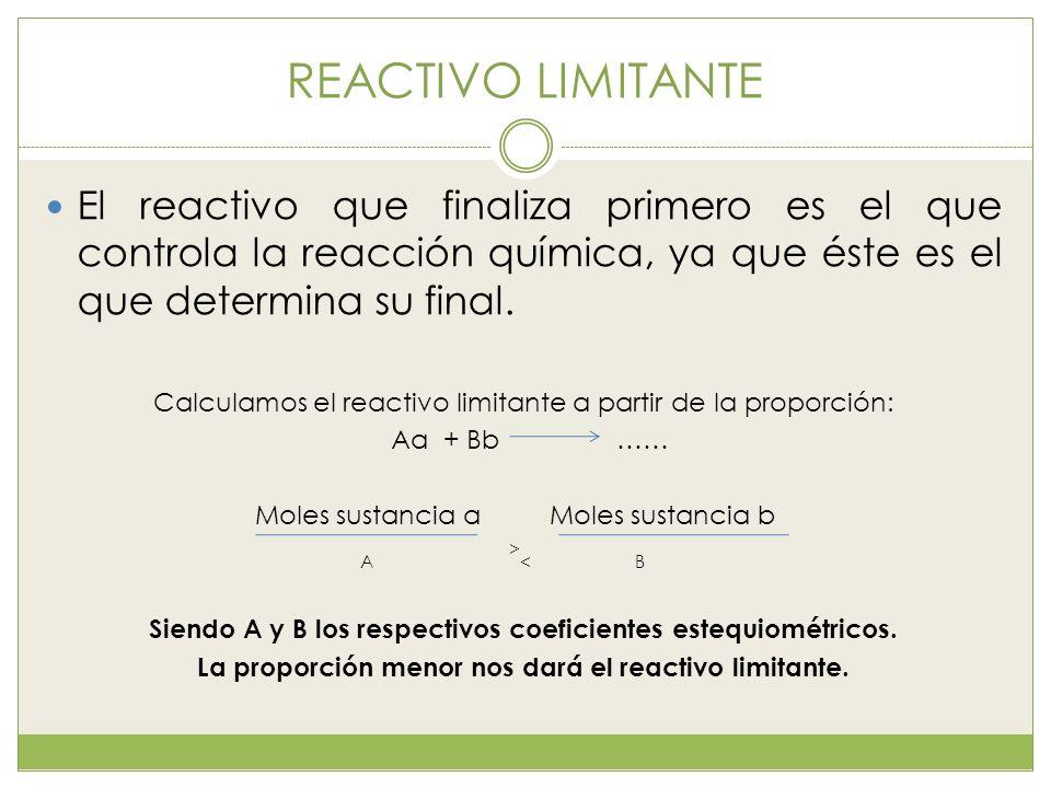 REACTIVO LIMITANTE El reactivo que finaliza primero es el que controla la reacción química, ya que éste es el que determina su final.