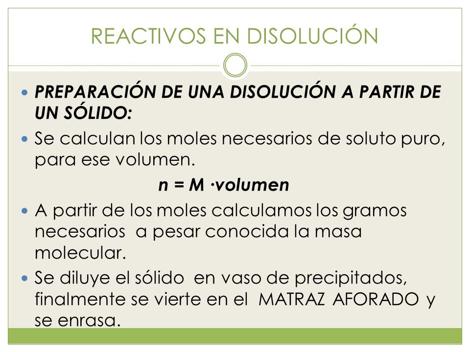 REACTIVOS EN DISOLUCIÓN