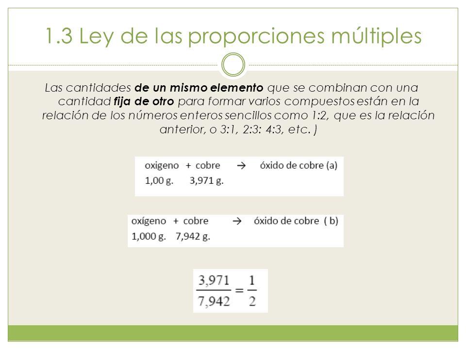 1.3 Ley de las proporciones múltiples