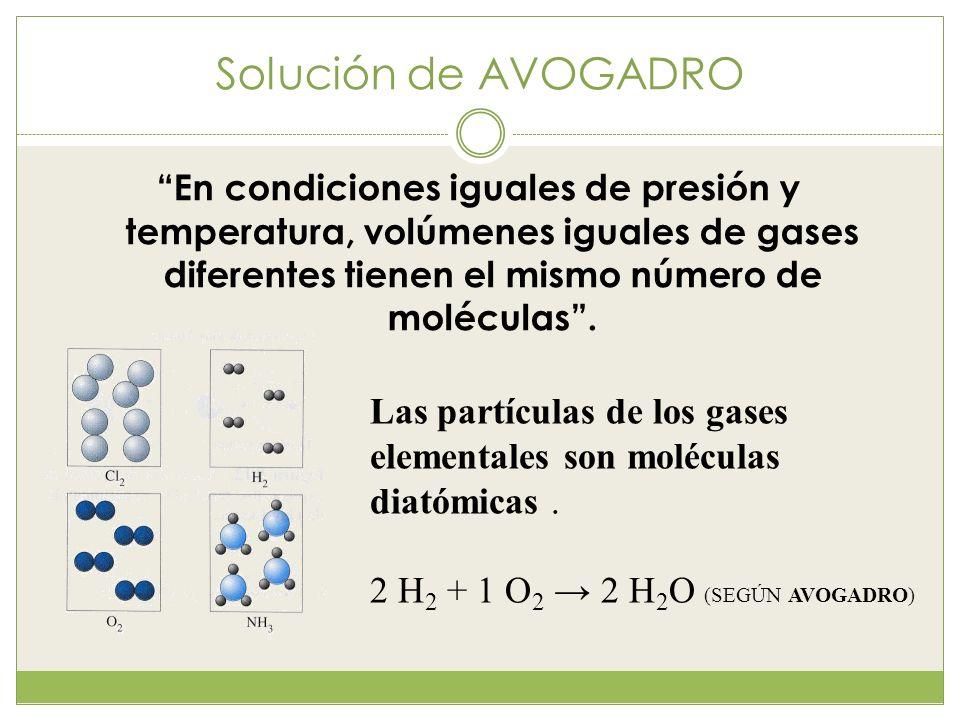 Solución de AVOGADRO En condiciones iguales de presión y temperatura, volúmenes iguales de gases diferentes tienen el mismo número de moléculas .