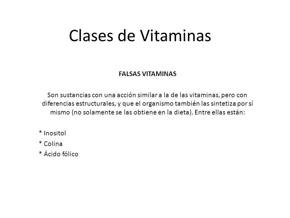 Clases de Vitaminas FALSAS VITAMINAS