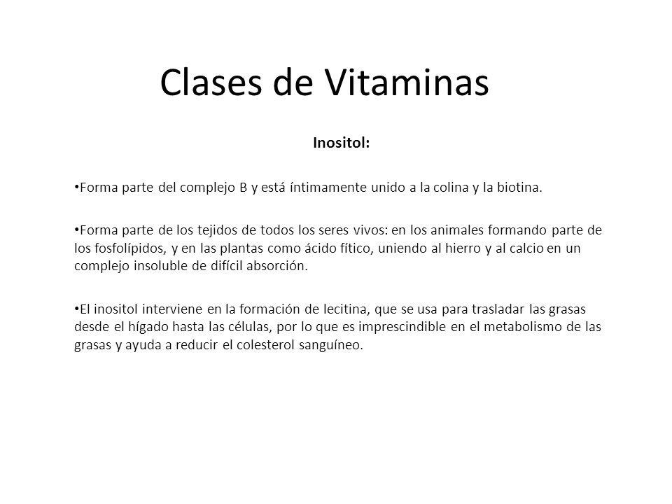 Clases de Vitaminas Inositol: