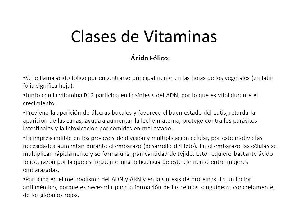 Clases de Vitaminas Ácido Fólico: