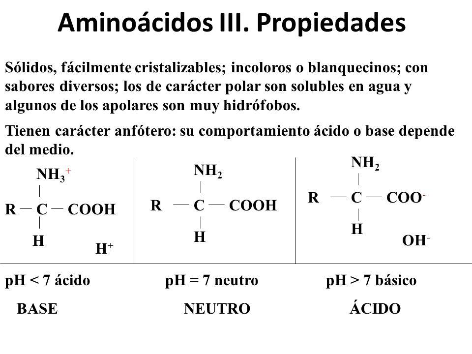 Aminoácidos III. Propiedades