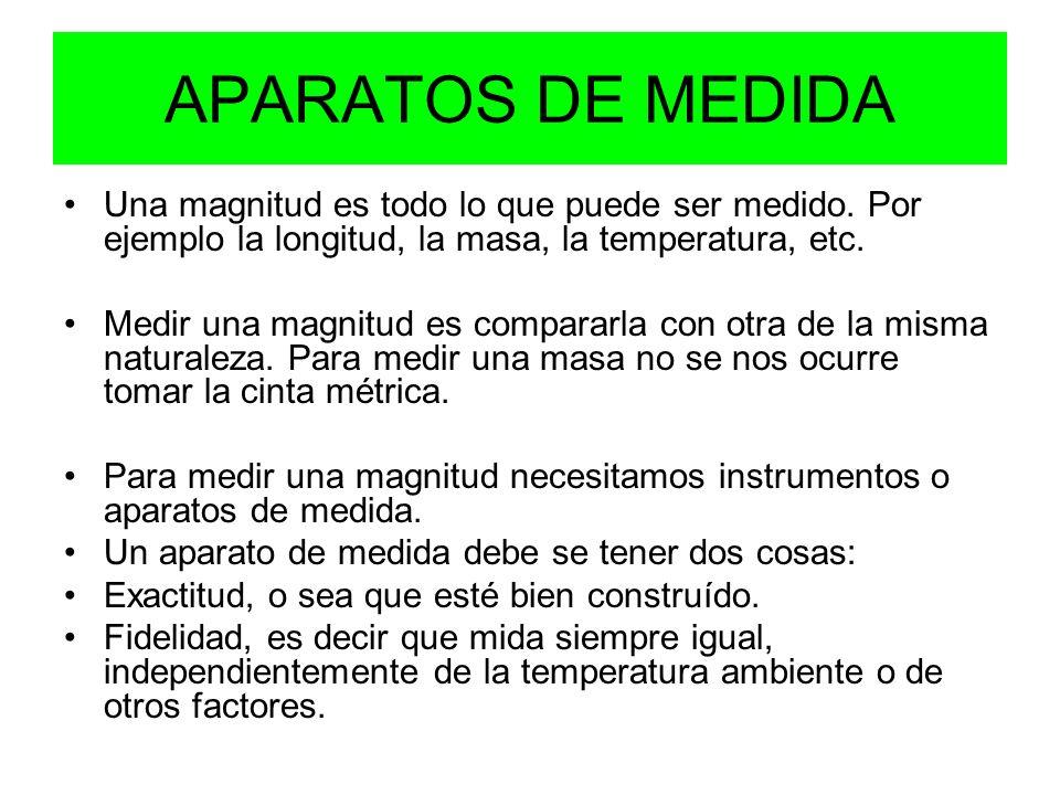 APARATOS DE MEDIDA Una magnitud es todo lo que puede ser medido. Por ejemplo la longitud, la masa, la temperatura, etc.