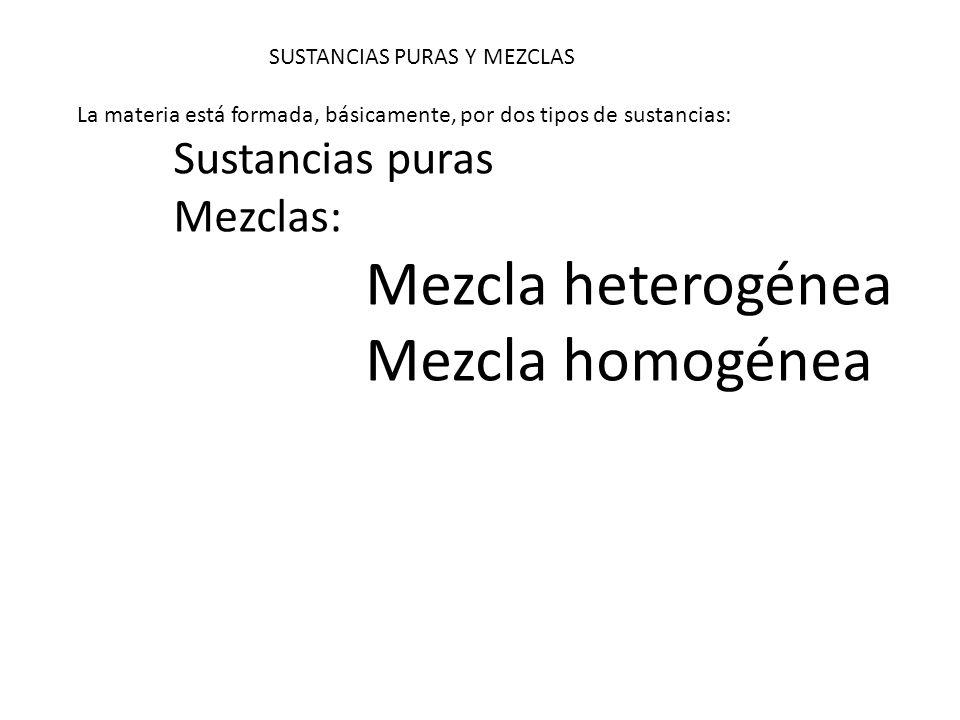 Mezcla homogénea Mezclas: Mezcla heterogénea