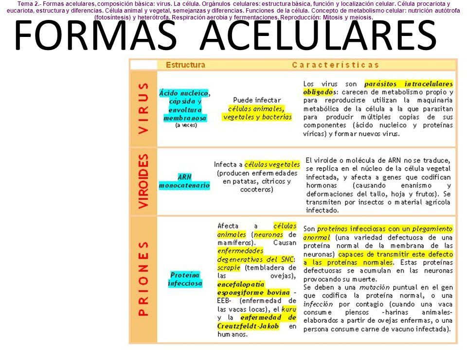 Tema 2. - Formas acelulares, composición básica: virus. La célula