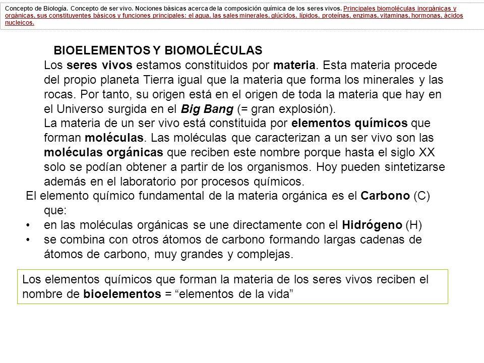 BIOELEMENTOS Y BIOMOLÉCULAS
