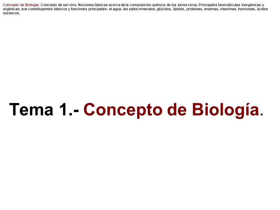 Tema 1.- Concepto de Biología.