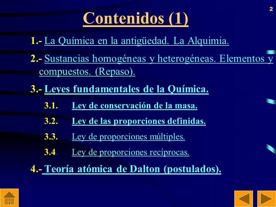 Contenidos (1) 1.- La Química en la antigüedad. La Alquimia.