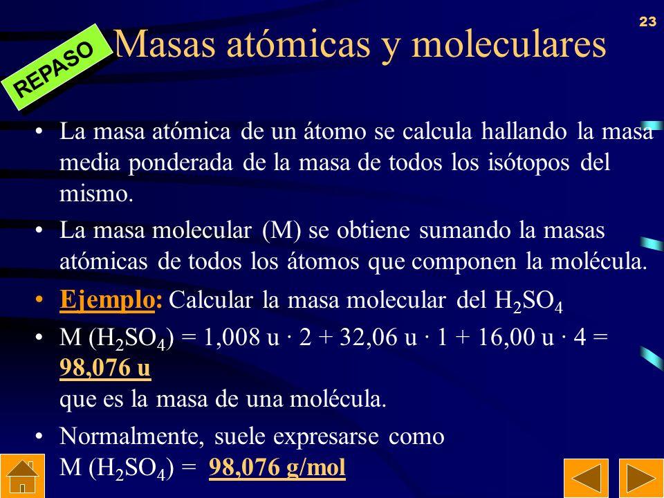 Masas atómicas y moleculares