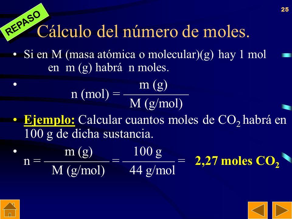 Cálculo del número de moles.
