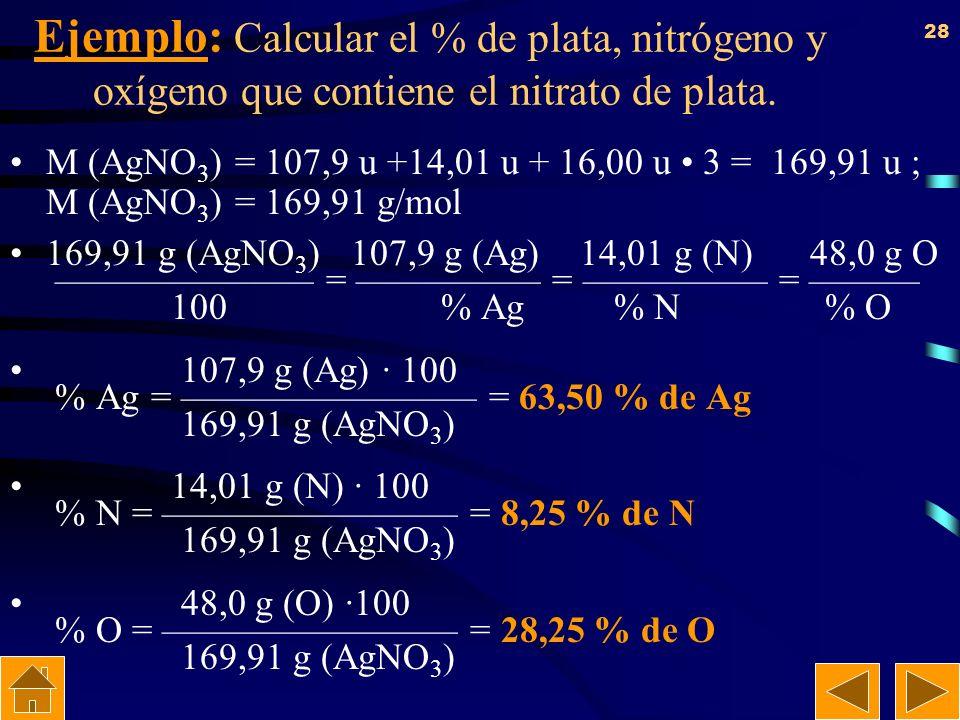 Ejemplo: Calcular el % de plata, nitrógeno y oxígeno que contiene el nitrato de plata.