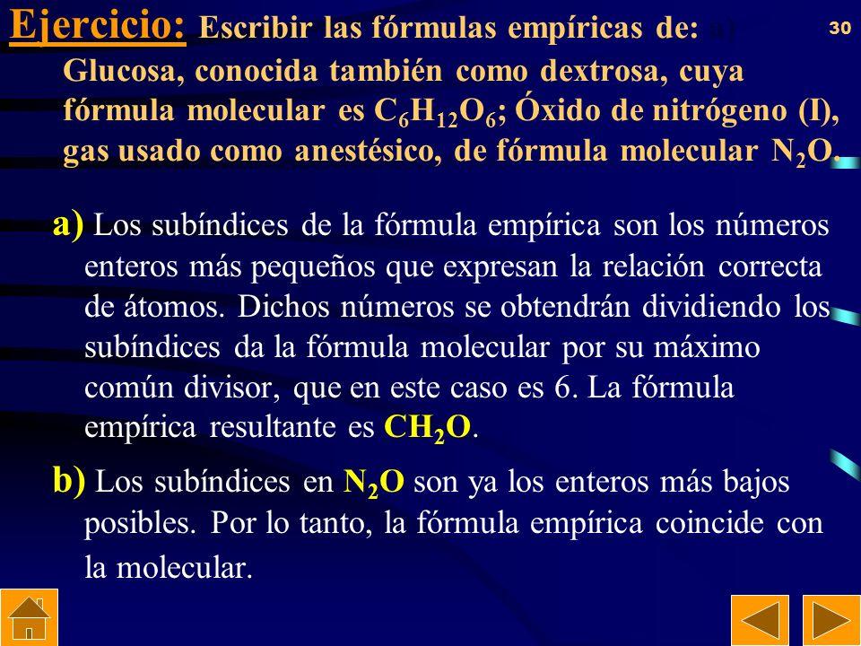 Ejercicio: Escribir las fórmulas empíricas de: a) Glucosa, conocida también como dextrosa, cuya fórmula molecular es C6H12O6; Óxido de nitrógeno (I), gas usado como anestésico, de fórmula molecular N2O.