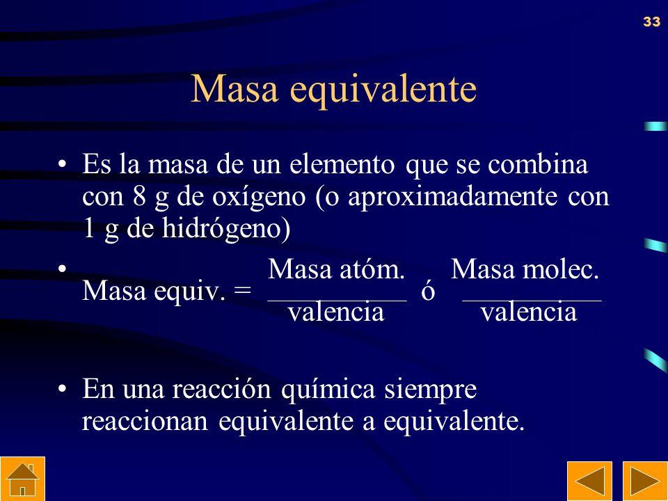 Masa equivalente Es la masa de un elemento que se combina con 8 g de oxígeno (o aproximadamente con 1 g de hidrógeno)