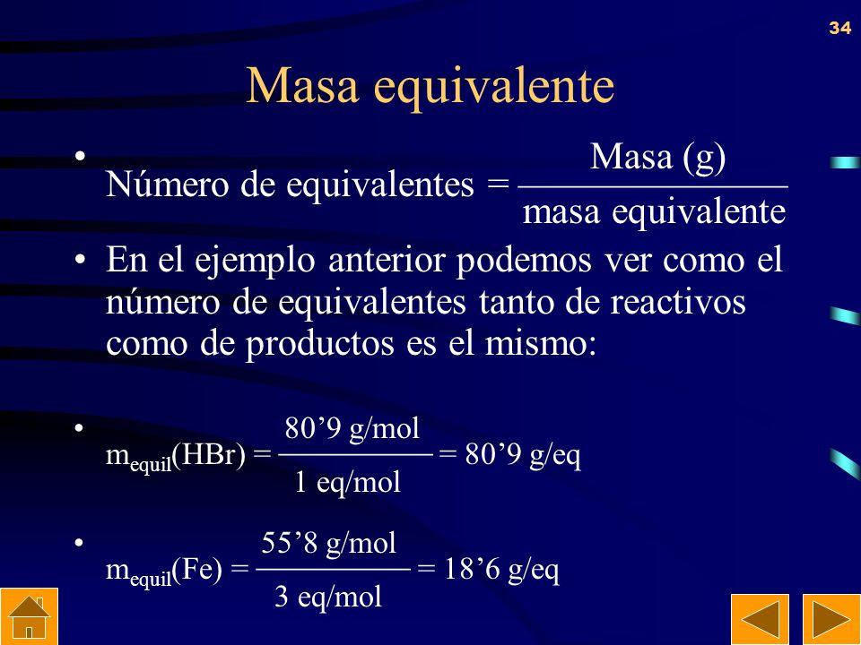 Masa equivalente Masa (g) Número de equivalentes = ——————— masa equivalente.